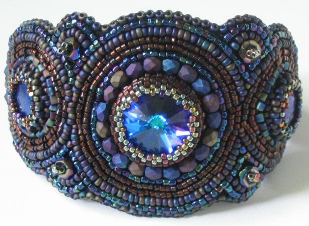 Raku Bracelet :  beads blue handmade bead