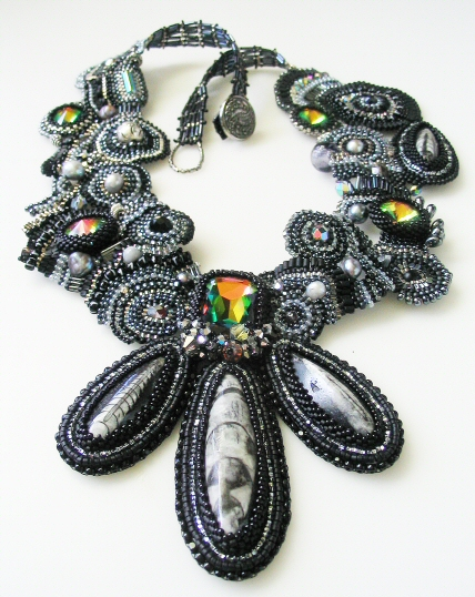 Black Fossil Necklace :  swarovski jewelry necklaces hand made